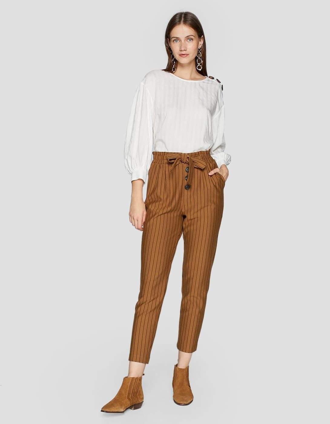 Pantalón baggy botones - Pantalones de mujer  48f4b605f69a