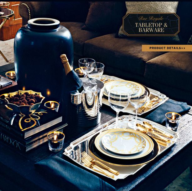 Elegant Tableware For Dining Rooms With Style: Ralph Lauren Home Rue Royale Collection Tan And Black