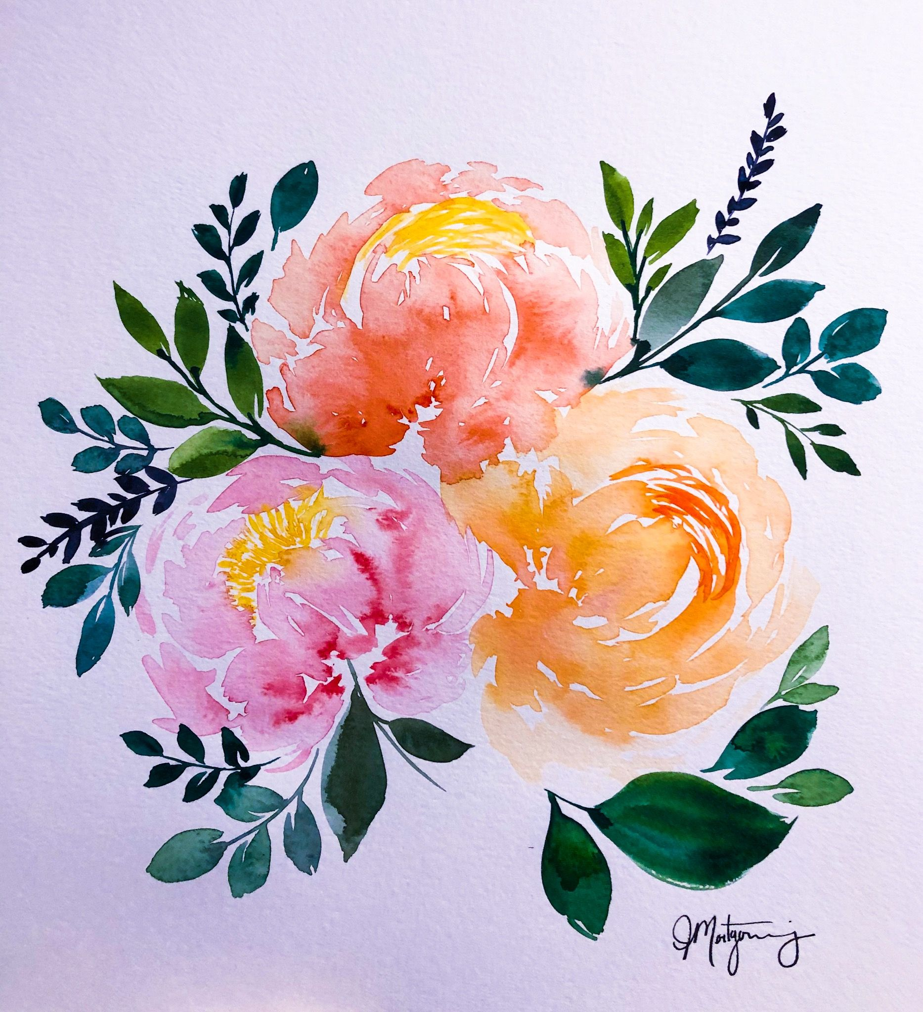 Peach, pink and coral hues 🥰🥰 (With images) Watercolor