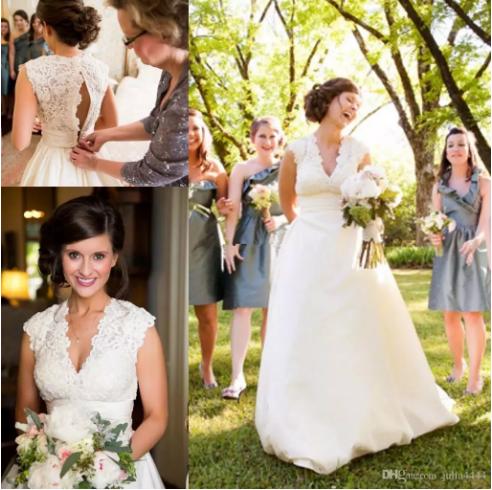 2017 Plus Size Wedding Dresses Y V Neck Sleeveless Chapel Train Satin Vintage Lace Bridal Gowns