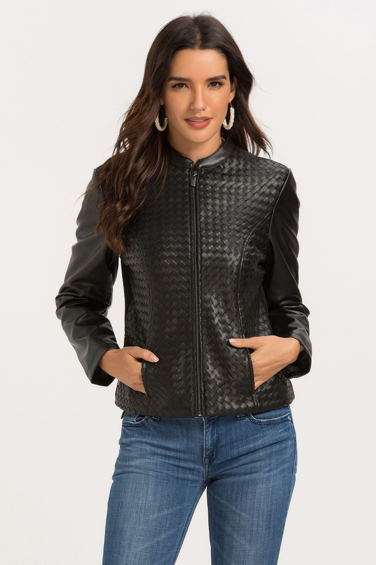 Spice up your outfit with Escalier Faux Leather Moto Zip