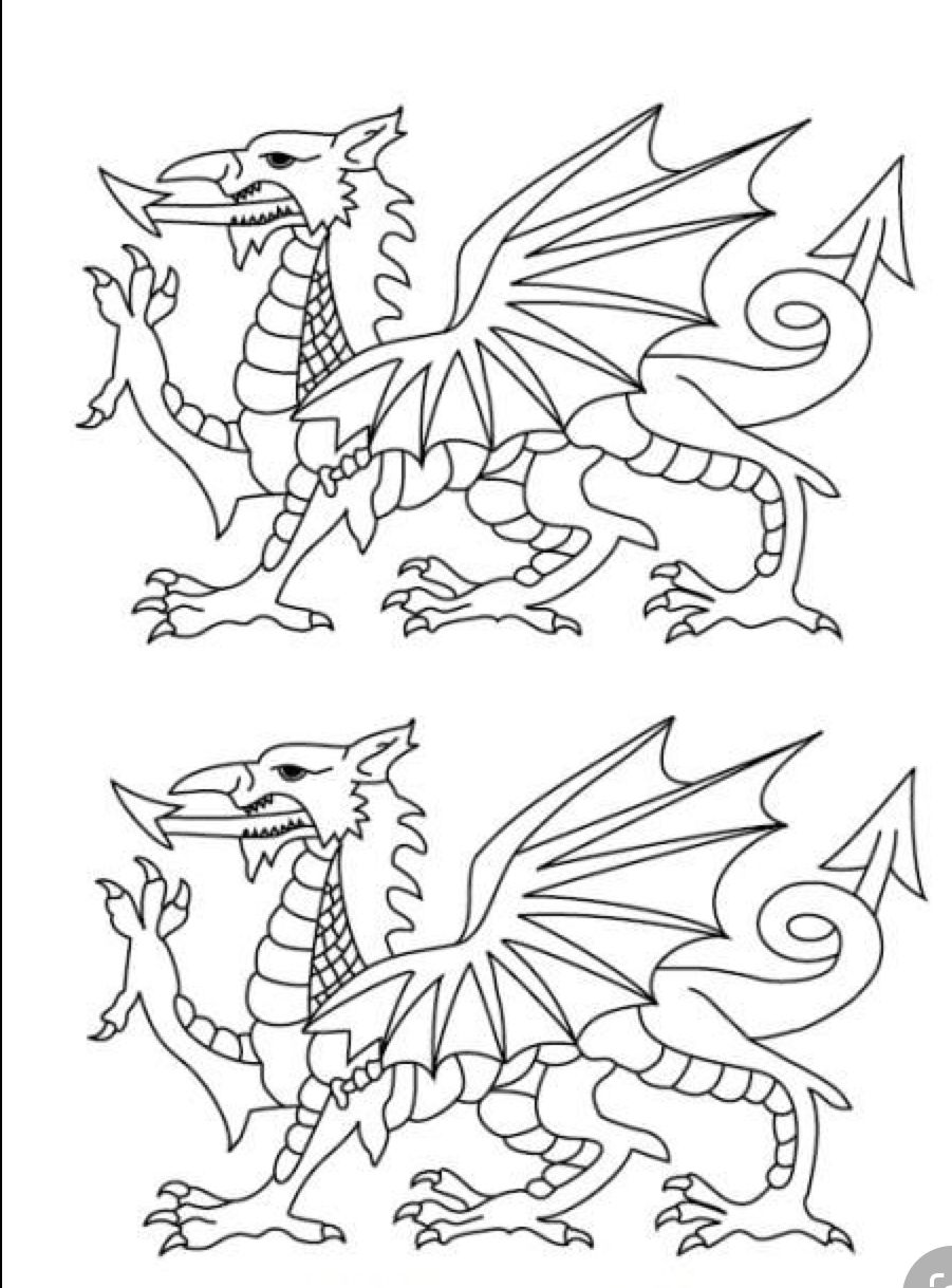 Pin By Leelynn Rhyse On Dna Dragon Coloring Page Welsh Symbols Welsh Dragon