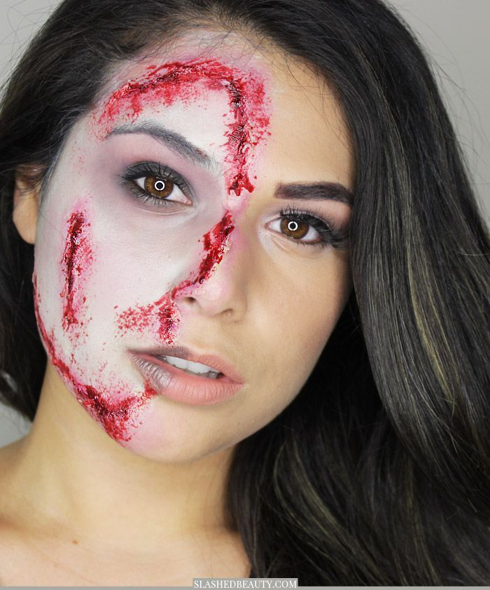 Channel both your glam and gory side with this transitioning zombie Halloween makeup look that's easy to recreate. Watch the video! | Slashed Beauty
