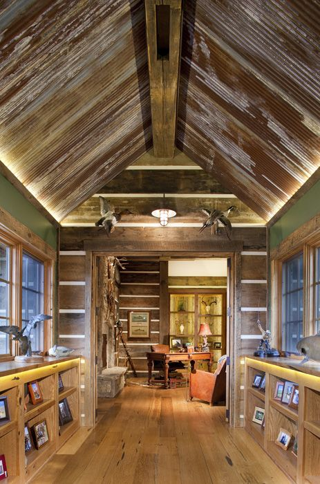 Corrugated Tin On The Ceiling Inside Love It Too Chachie For Words Rustic Farmhouse Chic Metal Country Rustic House Rustic Tin Ceilings House