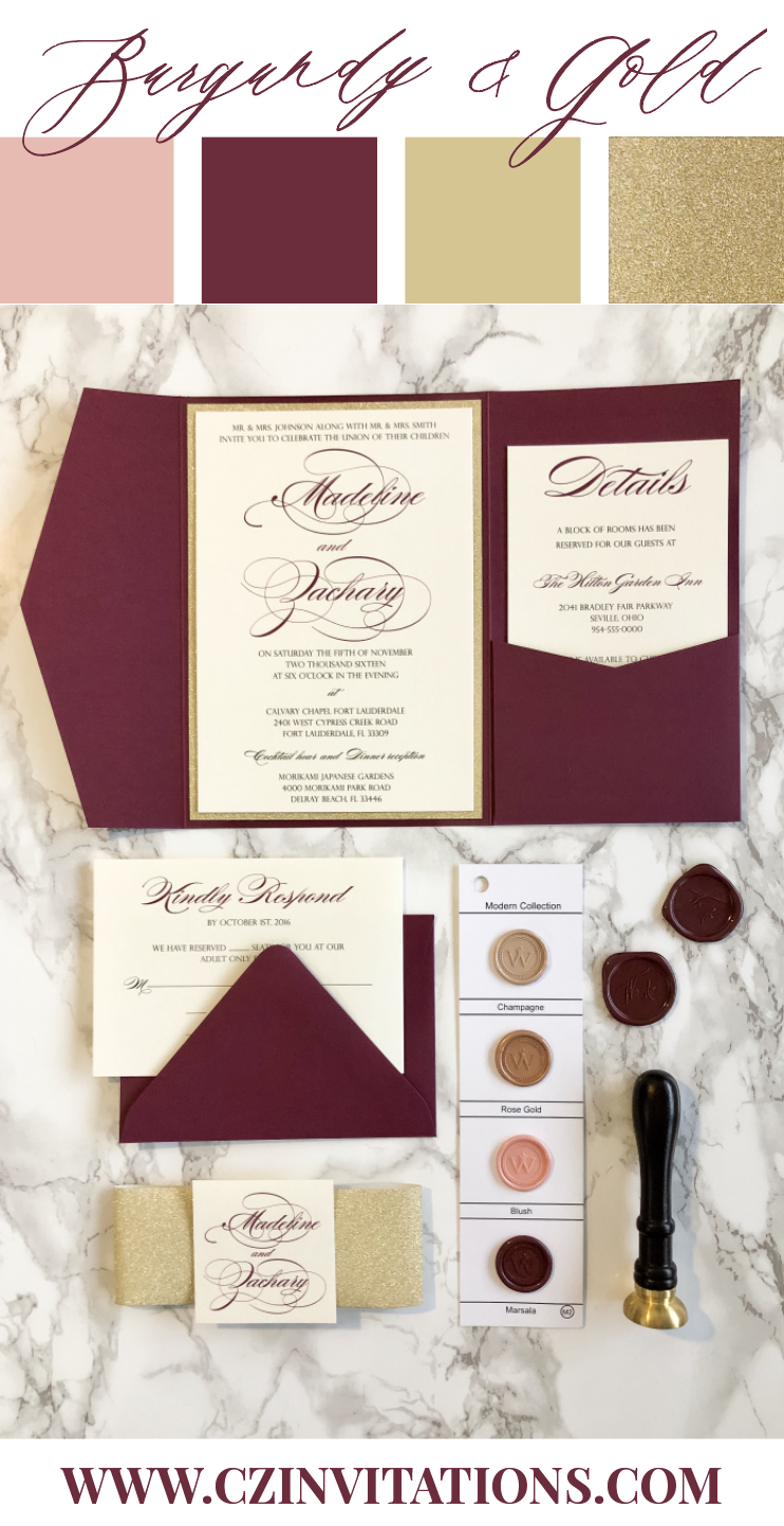 Burgundy Wedding Invitation Burgundy And Gold Glitter Pocket Burgundy Wedding Invitations Pocket Wedding Invitations Wedding Invitations Diy
