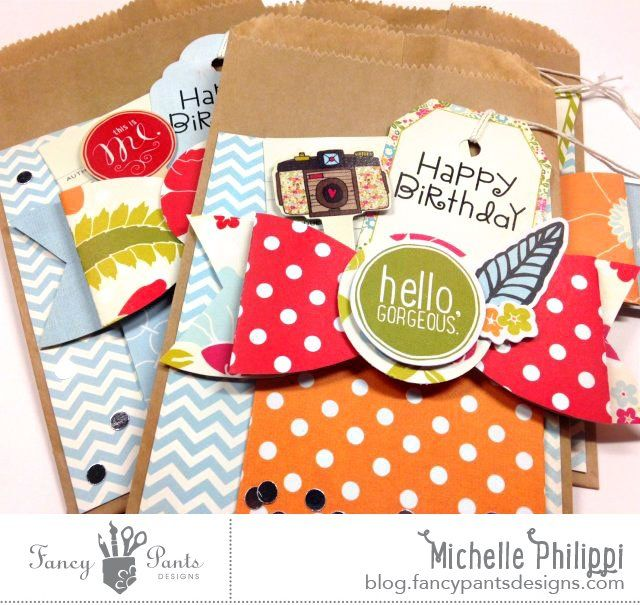 Paper Bow Gifts bags by Michelle Philippi using the Me-ology collection by FancyPansDesigns.com