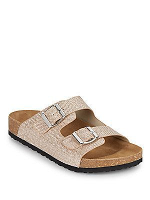 Steve Madden Jaylinn Metallic Glitter Slide Sandals Gold