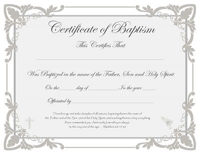 Free Baptism Certificate Templates | Wedding Officiants