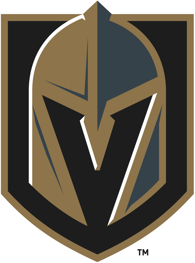 Vegas Golden Knights Primary Logo (2018) - A gold and steel grey knights  helmet with a V for Vegas cut out of the front adaed4d2b