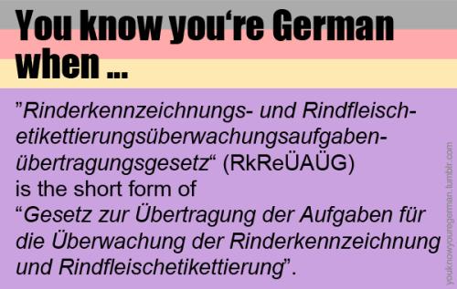 """Du weißt, dass du Deutsch bist, wenn …""""Rinderkennzeichnungs- und Rindfleischetikettierungsüberwachungsaufgabenübertragungsgesetz"""" (RkReÜAÜG) die Kurzform für """"Gesetz zur Übertragung der Aufgaben für die Überwachung der Rinderkennzeichnung und Rindfleischetikettierung"""" ist.(Submitted by lost-in-my-nirvana)"""