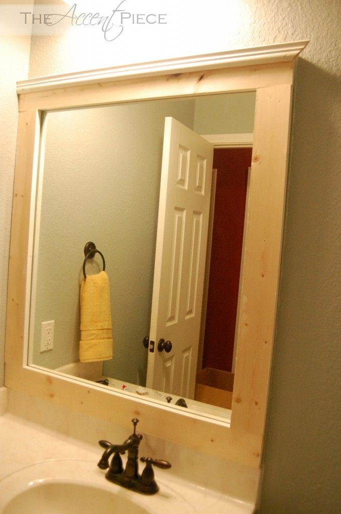 Framed builder grade mirror-love the trim on top | bathroom ...