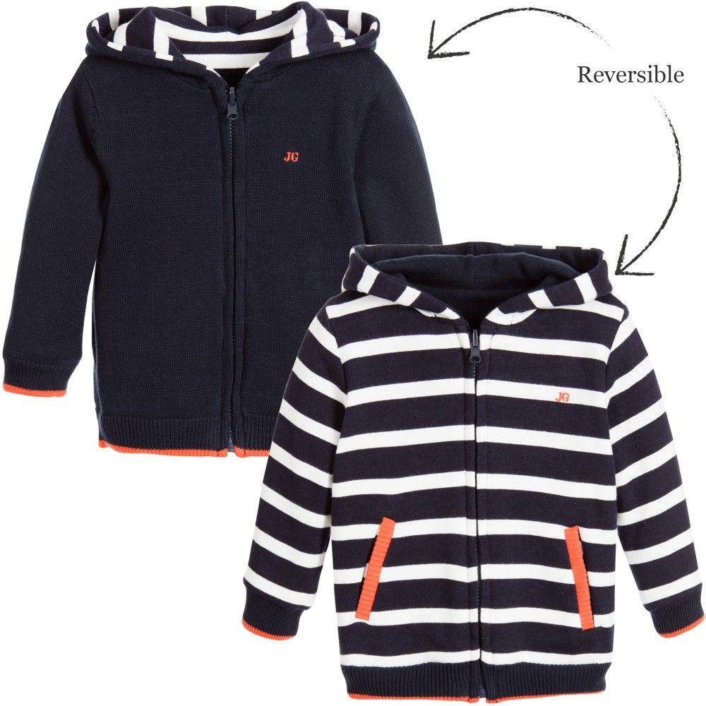826d85e3a193 Junior Gaultier - Baby Boys Blue   White Breton Stripe Reversible ...