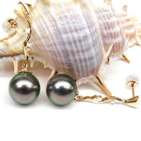 Boucles oreilles perles de Tahiti noires – Style contemporain – Or jaune