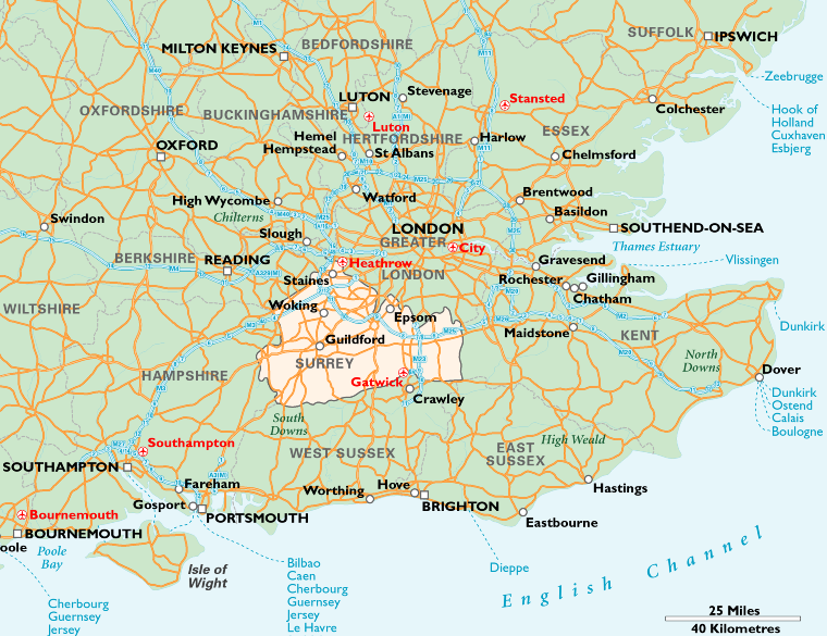 Epsom England The Map Below Shows The Location Of Surrey Within