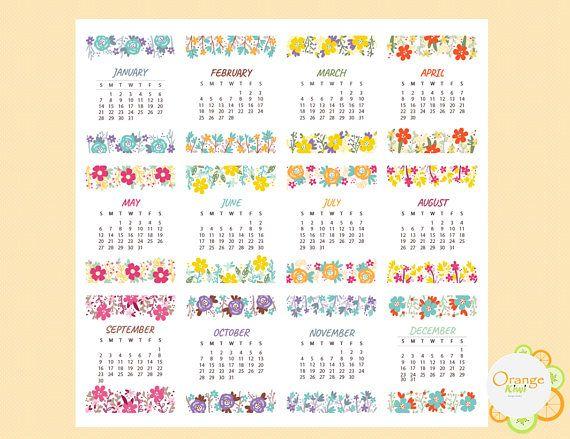 2018 Mini Calendars Mini Calendar Stickers 2018 Stickers Planner