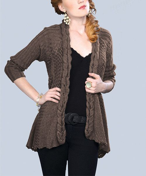 Look at this Geshem Taupe Braided-Trim Open Cardigan on #zulily today!