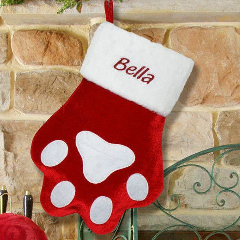 personalized red paw stocking cats dogs pinterest stockings