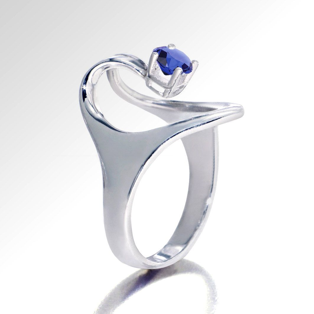 Fancy ISIS Unique Engagement Ring Blue sapphire Ring Solitaire k White Gold Ring Designer