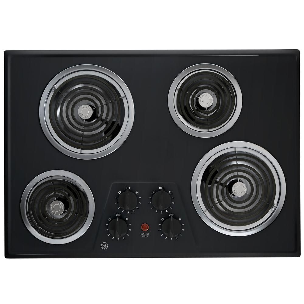 GE 30 in. Coil Electric Cooktop in Black with 4 Elements-JP328BKBB - The Home Depot