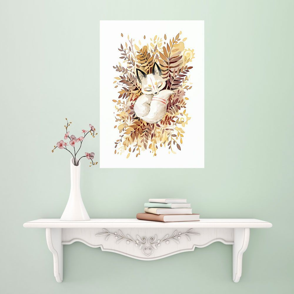 Anime fox wall sticker decal slumber by indre