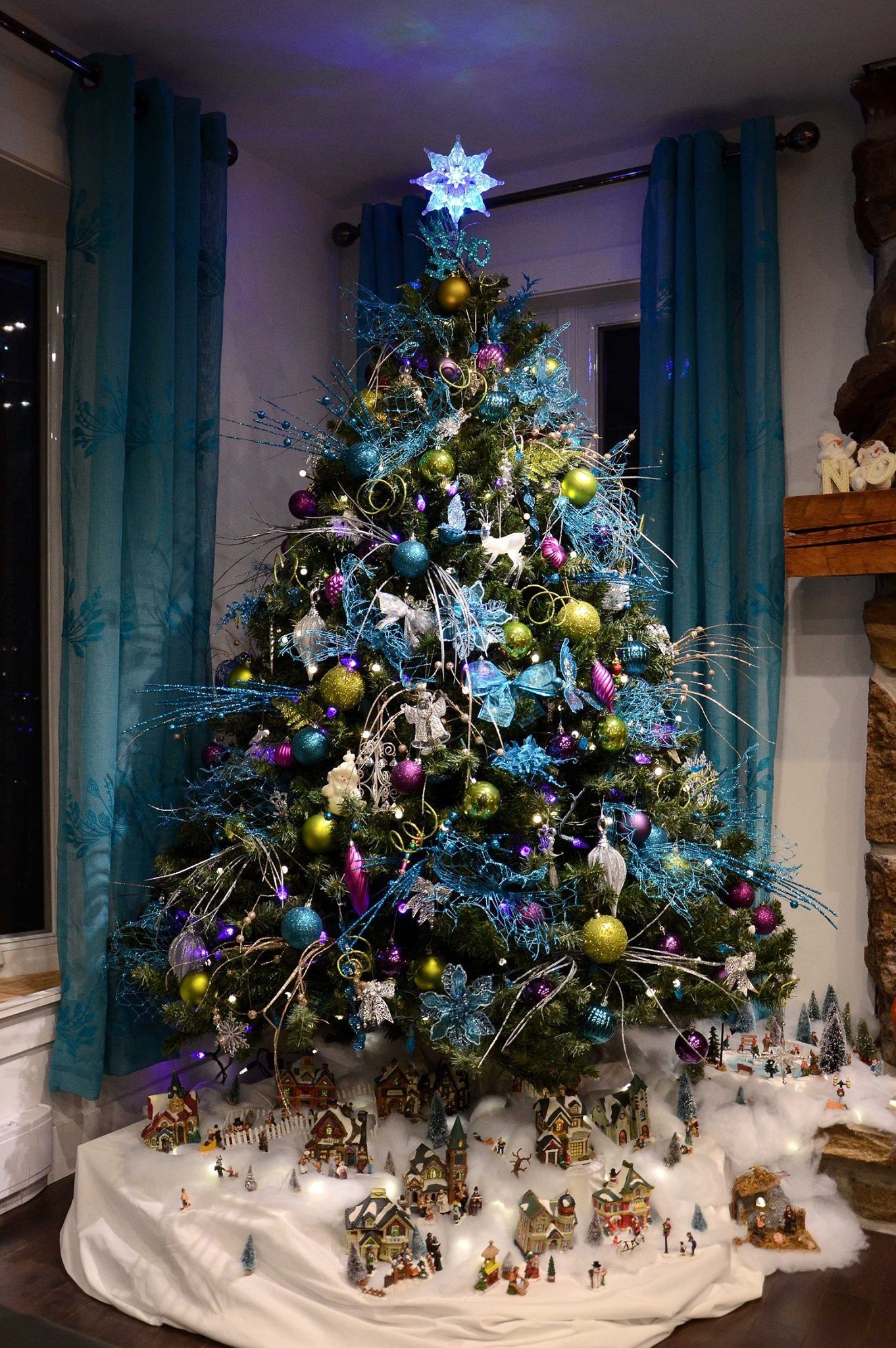 Arbre de Noël Sapin De Noël Sapin Deco Bijoux Sapin de Noël Bijoux Bleu 2 m
