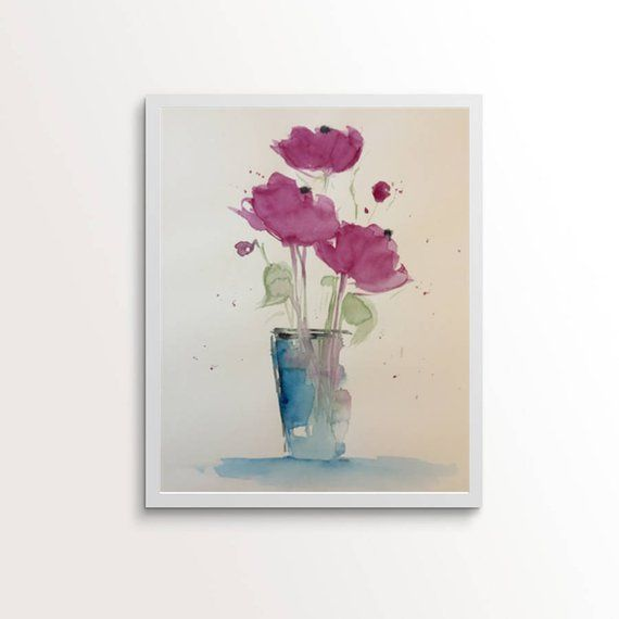 Original watercolor watercolor painting picture art flowers in vase flowers Watercolor Art