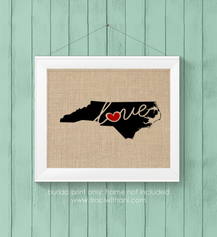North Carolina (NC) Love / Home Burlap or Canvas Paper State Silhouette Wall Art Print