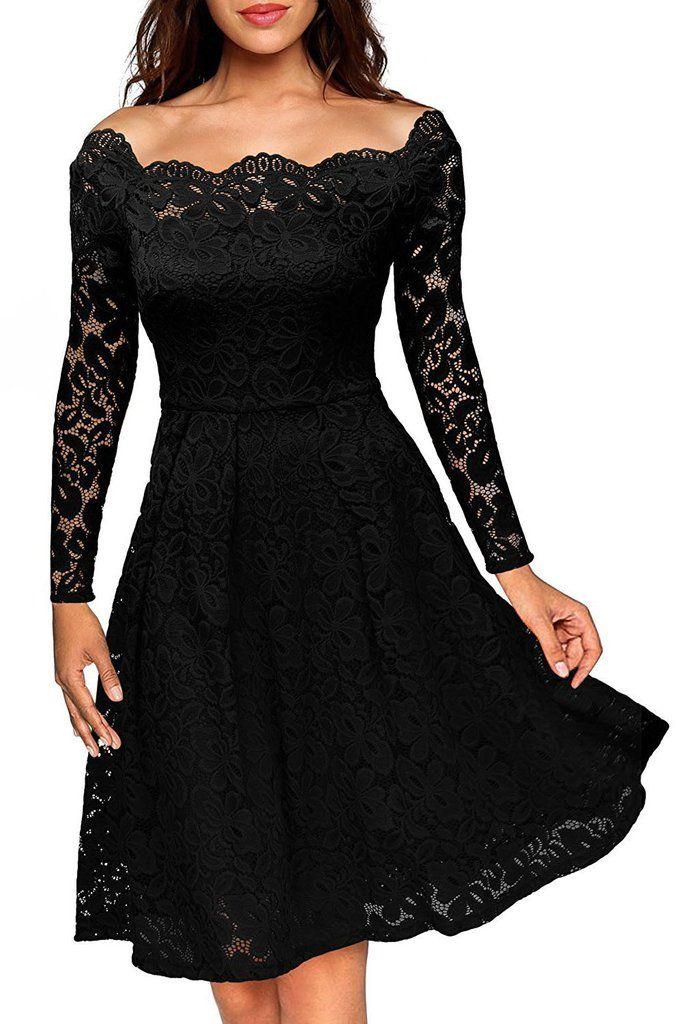 7a74ffb0acacf Robes Patineuses Mi Longues Noir Dentelle Manches Longues   robe ...