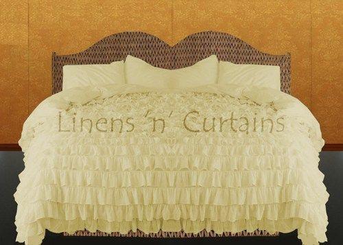 Cream Ruffle Bedspread Set Queen King All Size Egyptian Cotton