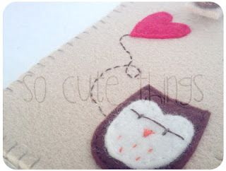 Felt Phone case 'Owl in Love'