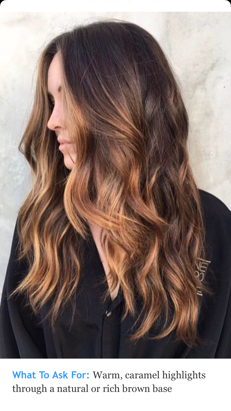 Warm Carmel Highlights On Rich Brown Hair