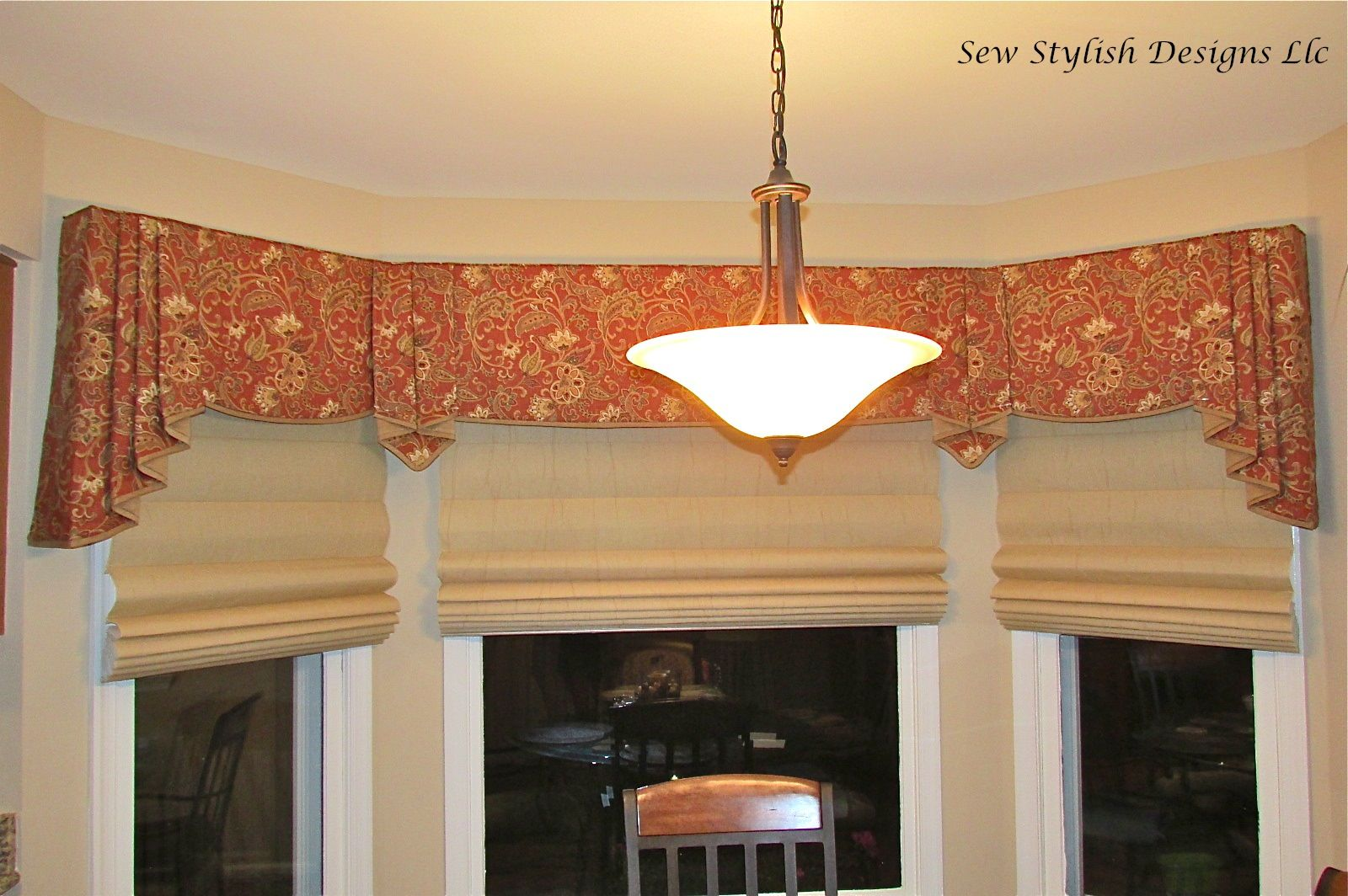 Sophisticated Linen Valance With Pleated Jabots Layered