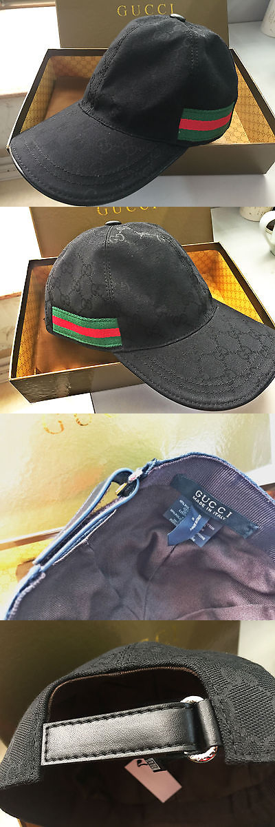 Hats 52365  New With Box Gucci Gg Nylon Baseball Cap Black Unisex Size M -   BUY IT NOW ONLY   89.88 on eBay! 4795c52340f