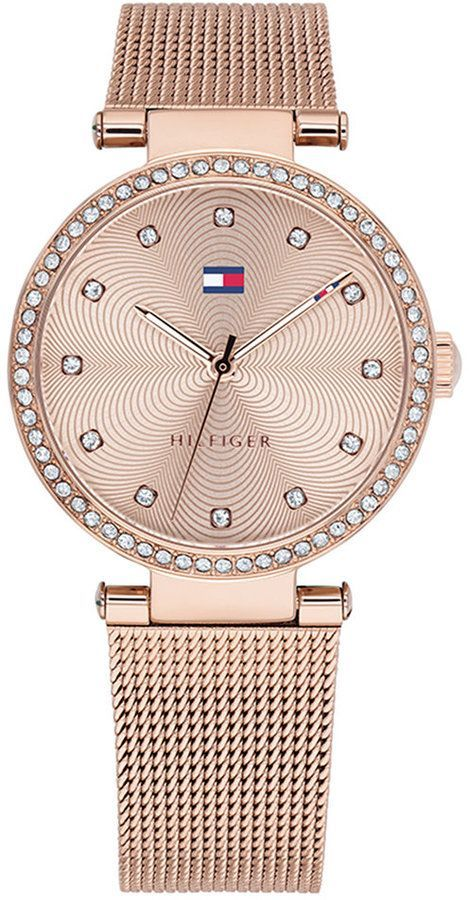 7c4a08f066 Tommy Hilfiger Women s Rose Gold-Tone Stainless Steel Mesh Bracelet Watch  32mm