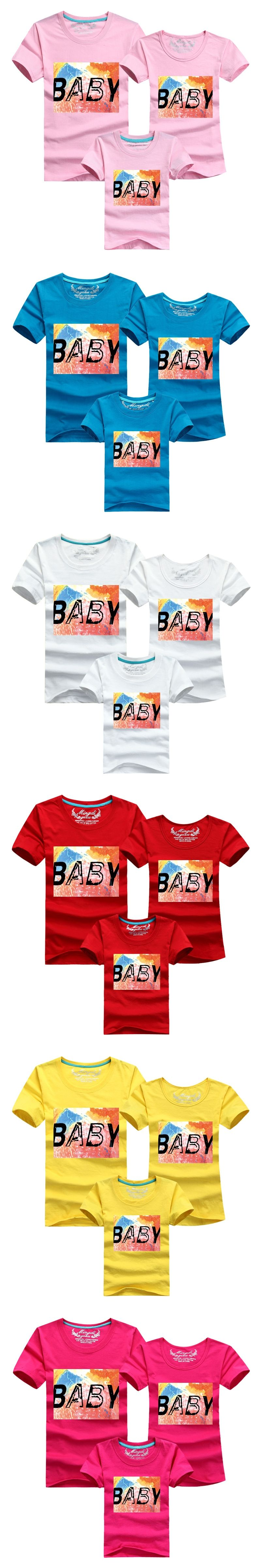100%Cotton Kids Parents Family Matching Outfits 6 Color Children T ...