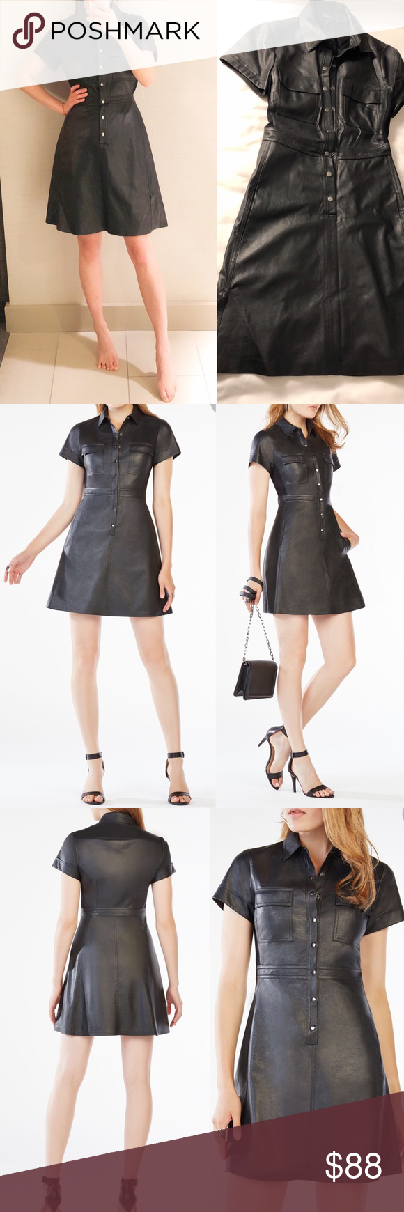 ddeac1fa475 BCBG Stephana Faux-Leather Shirt Dress black Fit like a glove! Flexible