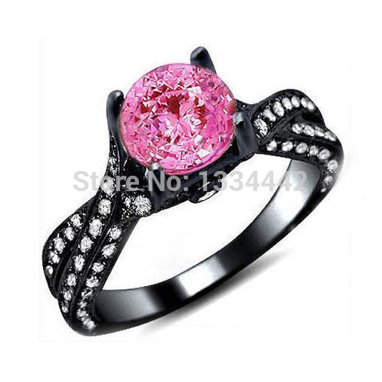 Hot Sale Black Gold Wedding Rings For Women Black Gold Pink With Zircon Stone Engagement Ring Ste Black Wedding Rings Black Engagement Ring Pink Wedding Rings