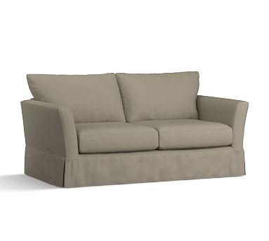 PB Comfort Fin Arm Sleeper Sofa Slipcover, Knife Edge, Linen Blend Gunmetal Gray