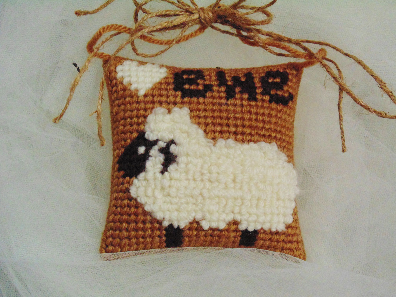 Farmhouse Sheep Mini Pillow, Lamb Pillow, Rustic Farmhouse Sheep Door Hanger, Farm Animal Sheep, Baby Shower Gift, Needlepoint Lamb