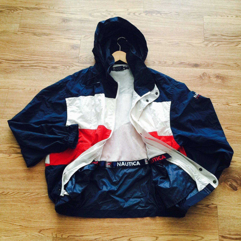 Vintage 1995 Nautica Sail Sport Hooded Jacket Vintage Jacket Retro Outfits Streetwear Fashion