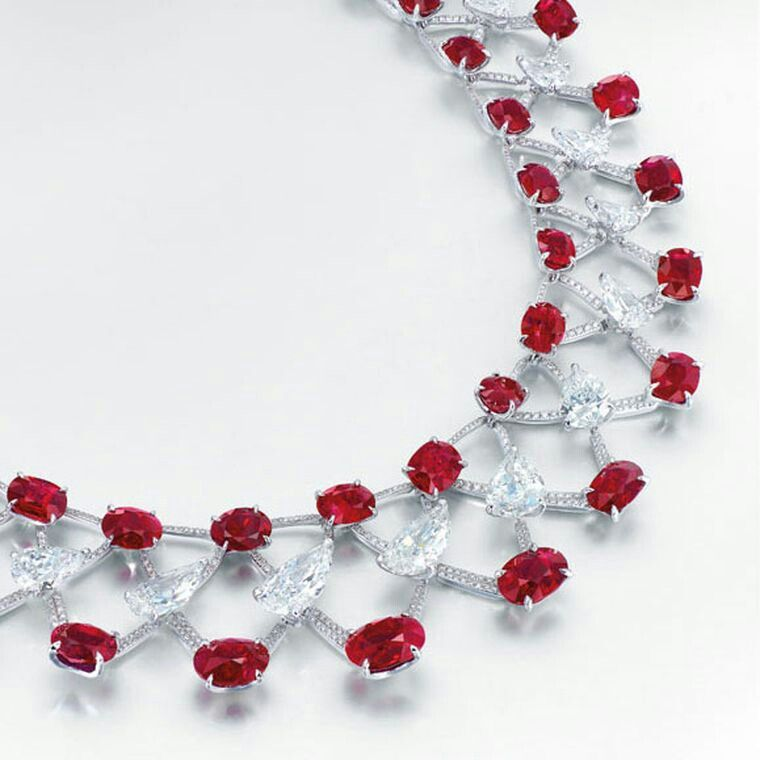 This gorgeousEdmond Chin Burmese ruby and diamond necklace. The necklace sold forUS$13,006,656 at Christie's Hong Kong. Image: Courtesy of Christie's