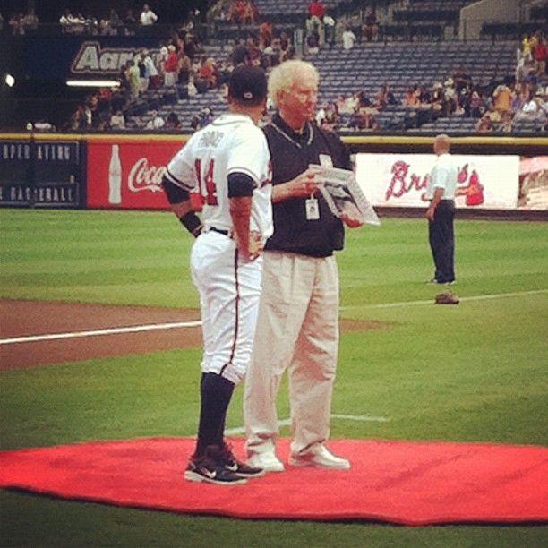 Atlanta Braves Martin Prado Receives The Heart And Hustle Award From Hall Of Famer Don Sutton Who Is The Radio Sportscaster Don Sutton Martin Prado Atlanta Braves
