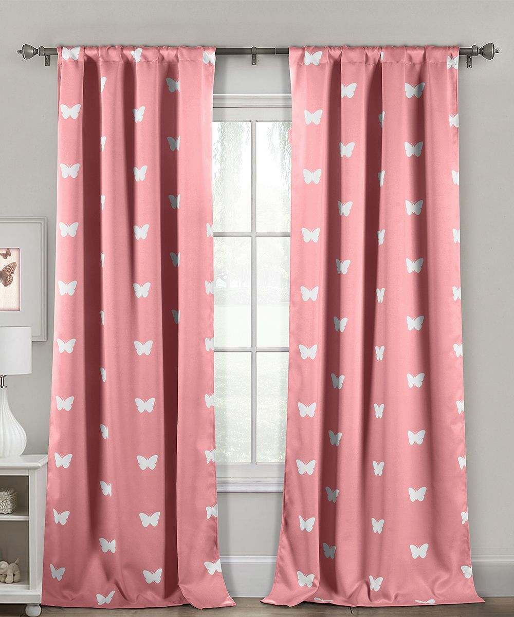 Pink butterfly heavy blackout curtain panel set of two pink