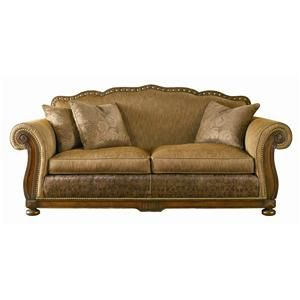 Bon Leather Sofa With Wood Trim | Sherrill Masterpiece Carved Wood Frame Sofa  With Brass Trolley Wheels .