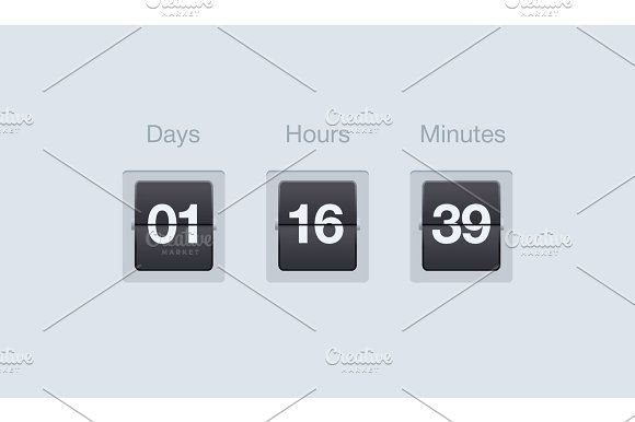 vector flip countdown timer clock counter for websites and