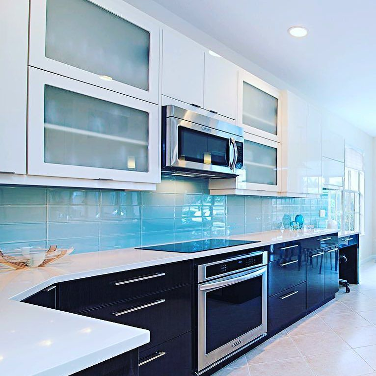 Our Lush 4x12 Vapor pale blue glass subway tile gives ...