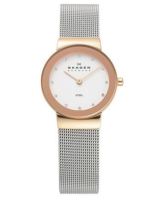 Skagen Denmark Watch, Women's Stainless Steel Mesh Bracelet 358SRSC - All Watches - Jewelry & Watches - Macy's