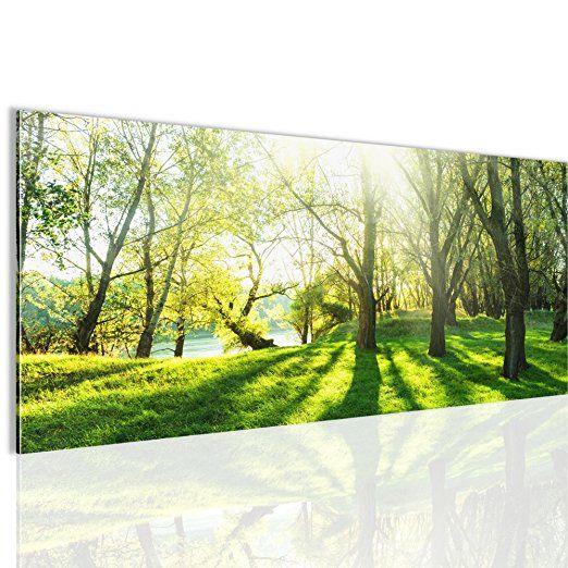 Bilder Wald Landschaft Wandbild 100 x 40 cm Vlies - Leinwand Bild X