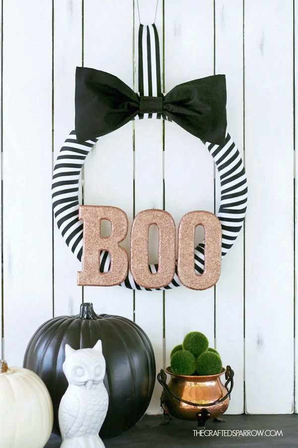 Black White Halloween Wreath Guirnalda Para Halloween Puertas Decoradas Para Halloween Manualidades Halloween