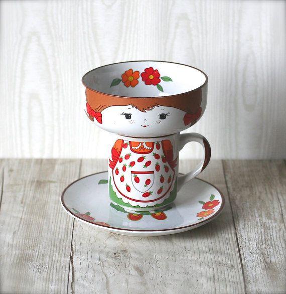 Interpur Childrens Set Girl Mug Plate Bowl Folk Three by ivorybird $38.00 & RESERVED FOR KRYS Interpur Childrens Set Girl Mug Plate Bowl Folk ...
